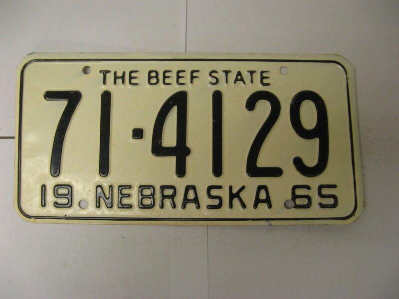 1965 65 Nebraska NE License Plate 71-4129