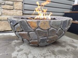 Natural stone gas fire bowls