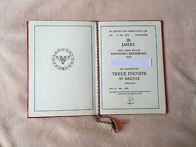Urkunde Auszeichnung 10 Jahre Deutsche Reichsbahn Bronze Medaille Treue Dienste