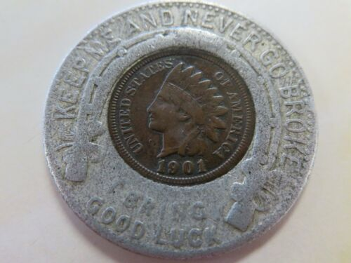 1901 Indian Cent Encased Good Luck Chas Ellis & Co Clothing
