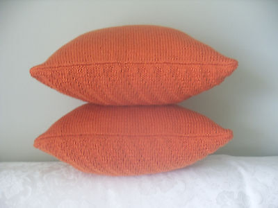 "Hand Knit 16x16"" SET 2 Throw PILLOWS INSERT INCLUDED by Katy S."