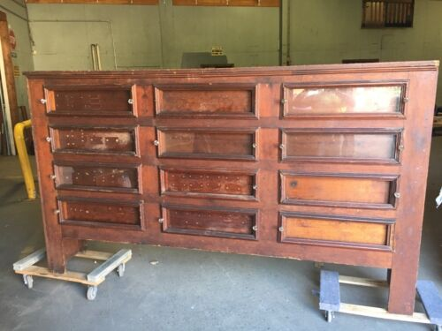 """19th century primitive country store seed bin cabinet PINE 101"""" x 59"""" x 18"""""""