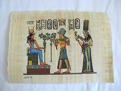 "Egyptian Papyrus Paper Painting King Tut Offering Goddess Isis 9""X13"" for sale  Shipping to India"