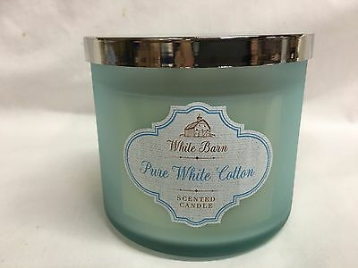 Bath & Body Works PURE WHITE COTTON 3 Wick 14.5 oz FROSTED GLASS Jar Candle