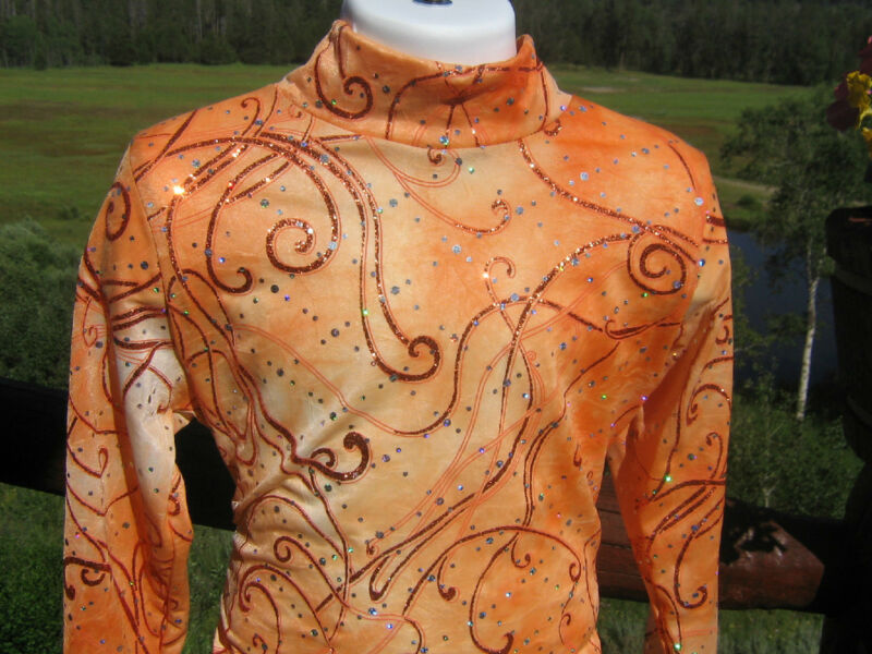 Orange western pleasure rail horsemanship shirt leadline slinky girl xs S M L XL