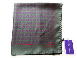 Ralph-Lauren-Purple-Label-100-Silk-Italy-Made-Dark-Green-Printed-Pocket-Square