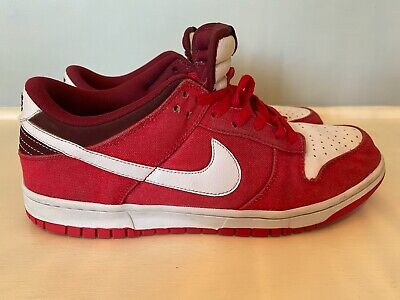 Nike Dunk Low Denim Leather Shoe Red & White 318019-604 RARE