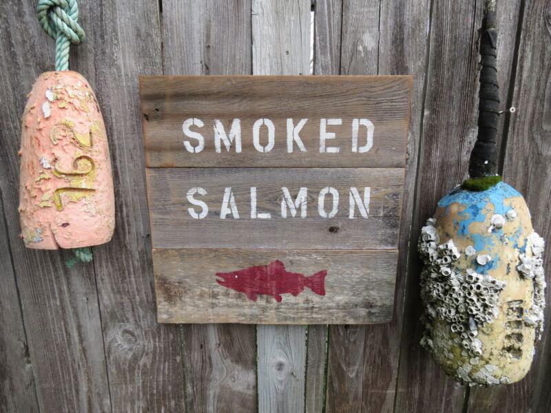16 INCH WOOD CEDAR HAND PAINTED SMOKED SALMON SIGN NAUTICAL MARITIME (#S262)