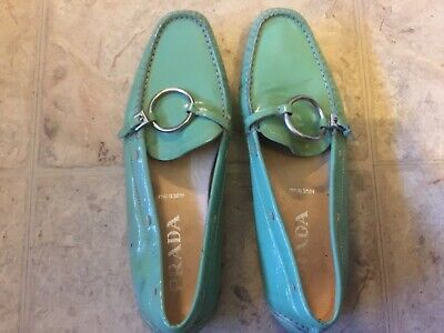 womens vintage Prada loafers, mint green, patent leather, size 8 ( ??