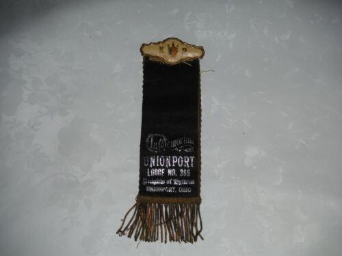 Knights of Pythias 2 sided ribbon Unionport Ohio lodge 369 circa 1890
