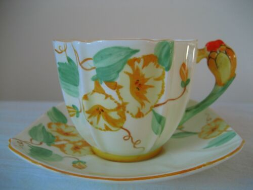 VINTAGE PARAGON FLOWER HANDLE TEA CUP & SAUCER  BACKSTAMP 1931 - 1933
