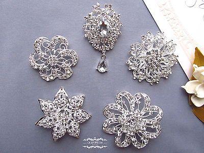 "5 PCs 2"" Large Rhinestone Brooch Lot Pin Crystal Pearl Wedding Bouquet Bridal"