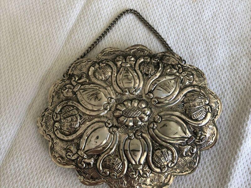 """Turkish Wedding Mirror 900 Silver Flower Oval 5.5"""" x 4.25"""""""