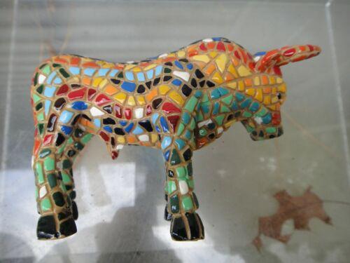 Vintage Spain Spanish Toro Barcino Mosaic Bull Figurine Figure
