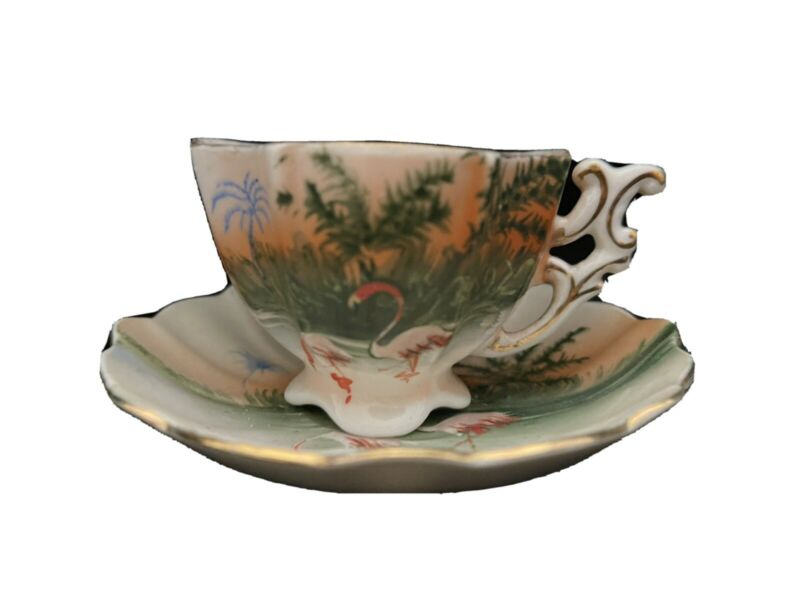 Vintage Flamingo Teacup And Saucer, Occupied Japan
