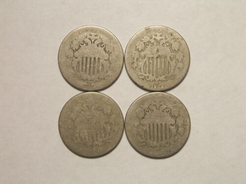 Mixed Lot of FOUR Shield Nickels 1866,1867,1868,1882