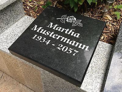 Grabmal Grabstein Urnenplatte Granit Naturstein Liegeplatte Grab inkl.   Schrift