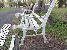 Cast iron bench ends & back rustic vintage garden seat ends Joyner Pine Rivers Area Preview