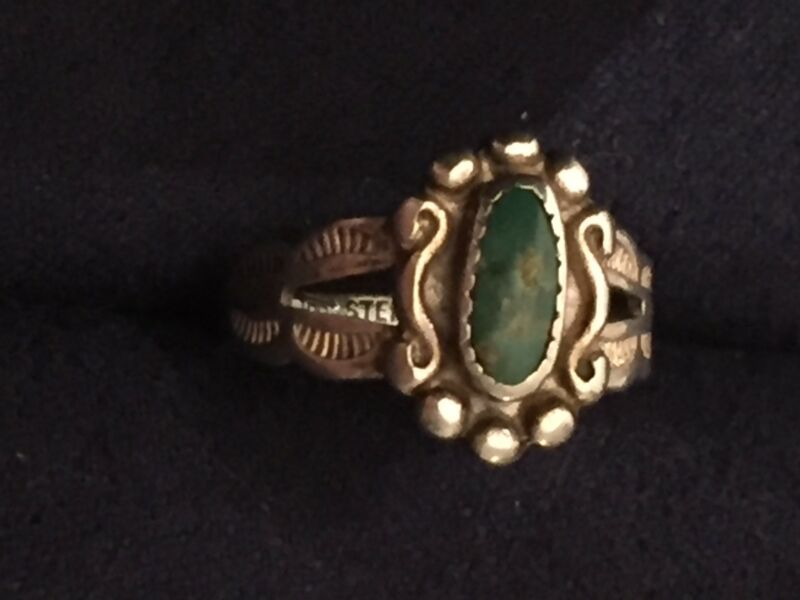 Green Turquoise Sterling Silver Native American Ring Child Vtg Victorian  Size 3