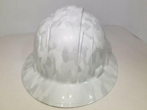 FULL BRIM Hard Hat custom hydro dipped, NEW  MILITARY ANTARCTICA DIGITAL CAMO  2
