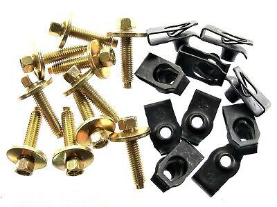 Body Bolts & U-nut Clips- M6-1.0 x 28mm Long- 8mm Hex- 20 pcs (10ea)- LD#138