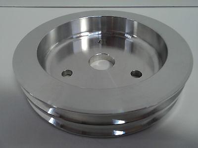 SB Chevy Aluminum Crankshaft Pulley 2 Groove SWP Short Water Pump SBC 350 Crank