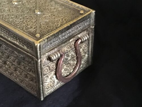 Antique Islamic Style Brass Box w Inserts Hand Made