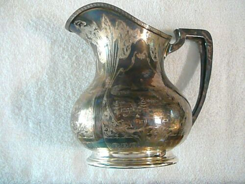 1915-1943 ANTIQUE SILVER J.S CO SILVERED, BEAUTIFUL ENGRAVED PITCHER