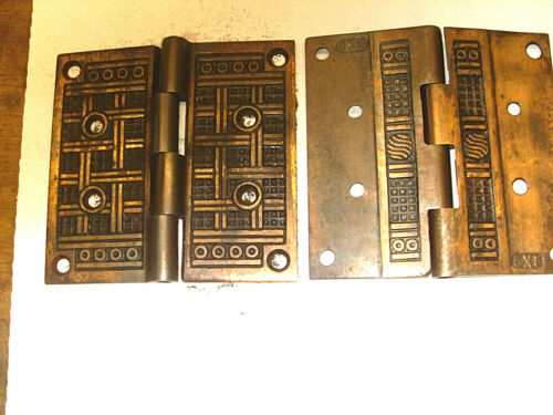 "VINTAGE EASTLAKE? VICTORIAN 5"" ORNATE DOOR HINGES BRONZE  2 SETS, NO PINS"