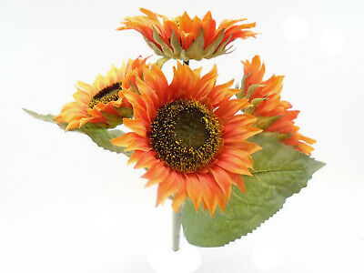ORANGE Sunflowers Bush Artificial Silk Flowers 11