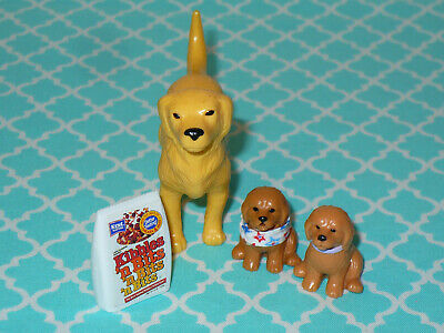 Mattel Barbie Doll Accessory Lot PETS DOG with 2 Puppies and FOOD BAG