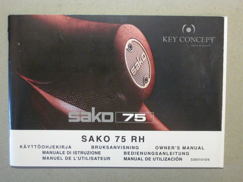SAKO 75 RH Owners Manual Vintage in Great Condition