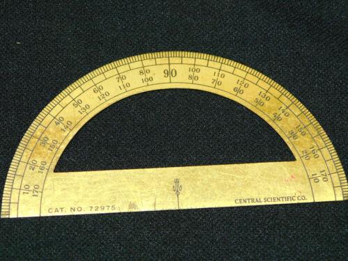 Antique Vintage CENTRAL SCIENTIFIC CO Brass Protractor Math Tool
