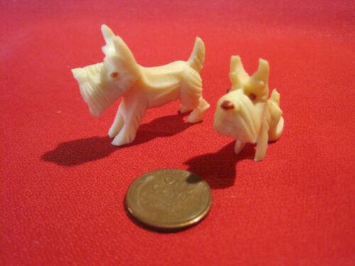 Vintage hard celluloid plastic Scottie dog Scottish terrier dog figurines