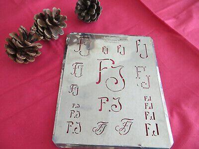 PR P R monogram stencil embroidery antique LARGE copper metal initials letters
