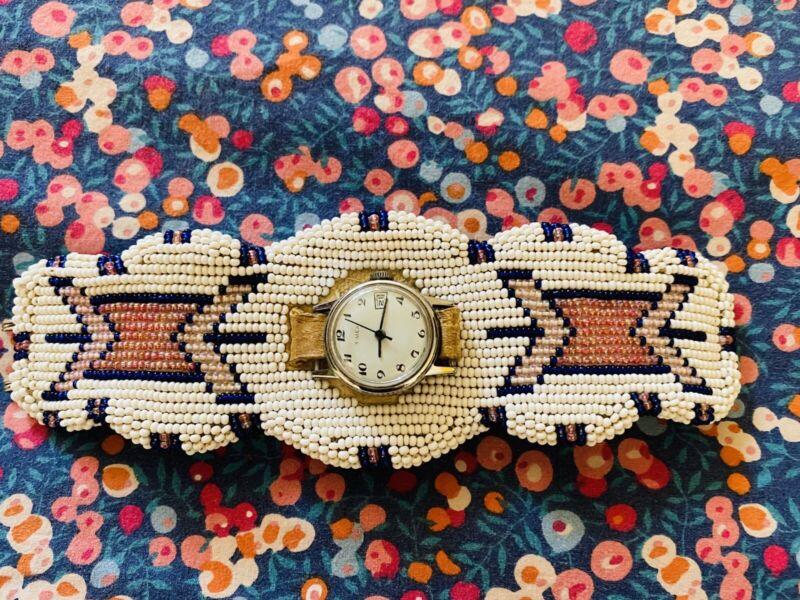 Vtg 1970's Northern Cheyenne Hand-Beaded Watch Band Smaller Wrist