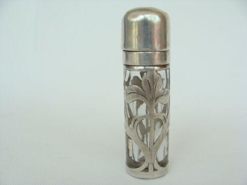 "Antique Sterling Silver Overlay Iris Flower Chatelaine Perfume Bottle 2 5/8"""