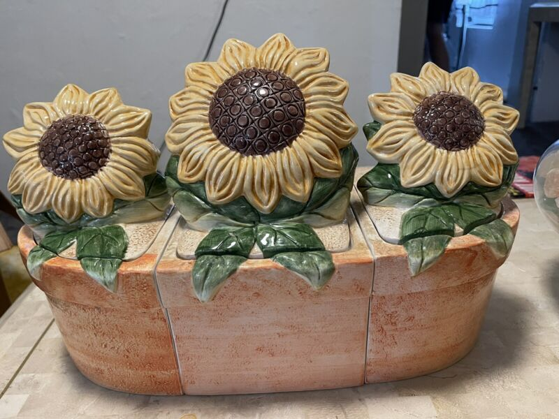 RARE & HARD TO FIND SUSAN WINGET SUNFLOWER FIT TOGETHER CANISTERS / COOKIE JARS