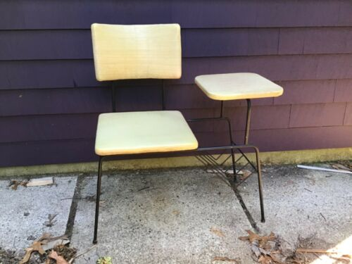 Vintage Mid-Century MCM Gossip Bench Telephone Table - Metal & Vinyl