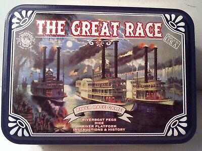 2007 SEALED - THE GREAT RACE - RIVERBOAT RACE GAME - PEGS - DICE - TIN BOX - USA