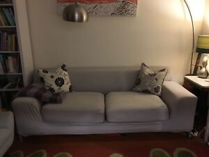 Ikea Couch w Slip Cover and Ottoman