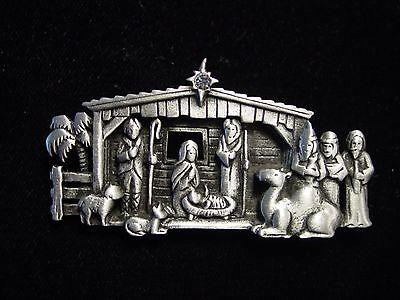 Jj  Jonette Jewelry Silver Pewter Realistic Nativity Scene Christmas Pin