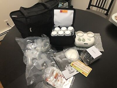 Ameda Purely Yours Ultra double electric breast pump with accessories and tote