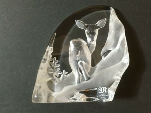 Signed Mats Jonasson Full Lead Crystal Deer Paperweight Sweden
