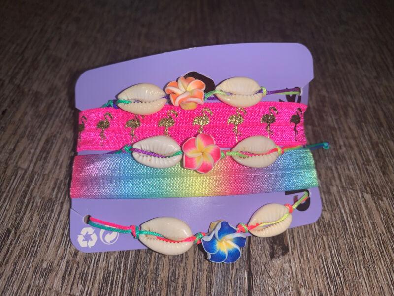Claire's beach rainbow seashell flamingo stretch bracelet hair tie Vsco Girl