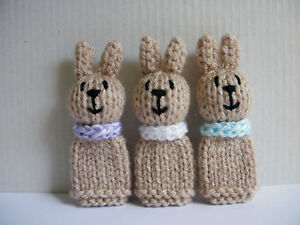3 Little Bunny Rabbits - Hand Knitted Finger Puppet Toys / Animals  - NEW