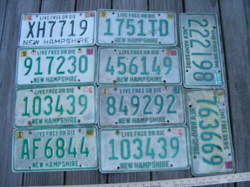 10 New Hampshire VINTAGE License Plates Lot, Expired Tags