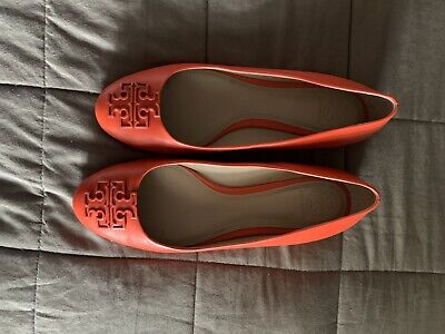 Tory Burch Women Ballet Flat Shoesleatger Poppy Red Logo Melinda Size 9
