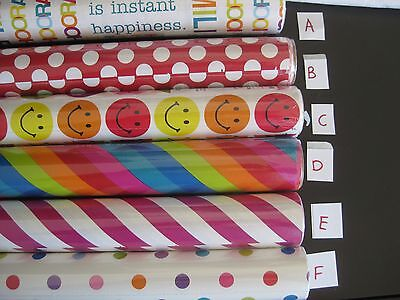 Gift wrap paper, colorful, different designs, new on roll, 2 rolls, 15 ft each
