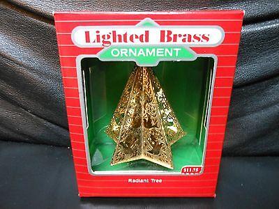 """Hallmark Keepsake """"Radiant Tree"""" 1988 Brass Lighted Ornament NEW"""